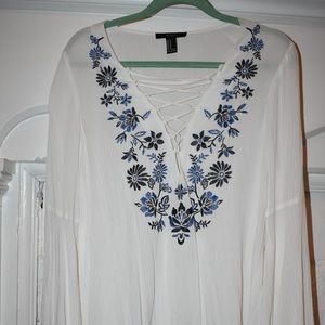 Lace-up White with Blue Flowers. Bell Sleeve!